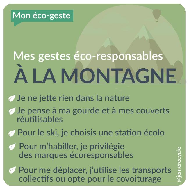 Mes gestes éco-responsables  à la montagne - vacances à la montagne éco-responsables